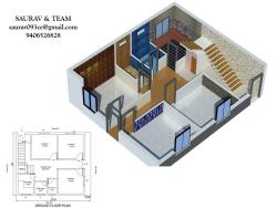 "House Plan for 32""6"" Feet by 26 Feet plot (Plot Size 832 Square Yards)"