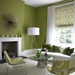 Green and white interior of living