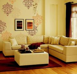 wall stencil dual shade design for living room