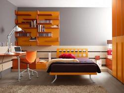 Single bed with study unit and wall storage shelf