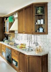 Cabinet tapering on the corner eliminates the bulkiness