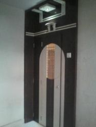 Safty door with roof high laminate cladding