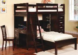 Modern Wooden Loft Bed set design for Kids room decor