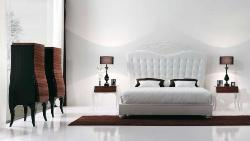 Luxury White Bedroom decor and Marble Flooring