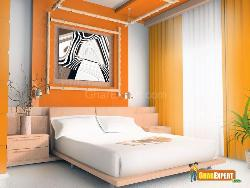 Bed Room with Orange and White Scheme