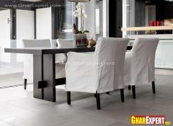 straight line black and white dining furnture