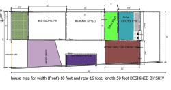 HOUSE MAP FOR WIDTH 18 FEET (FRONT) 16 FEET REAR, LENGTH 50 FEET DESIGNED BY SHIV