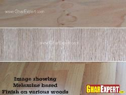 Melamine based finishing on various woods