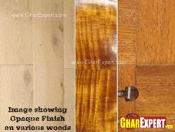 Opaque finish on various woods