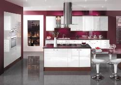 Well organized kitchen with color theme
