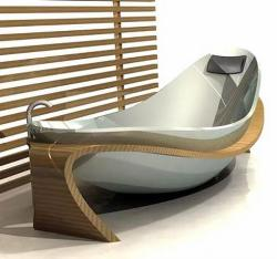 Bathroom design with antique bath tub with curve bed