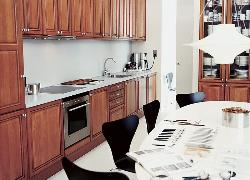 Elegant kitchen with a large eatin area