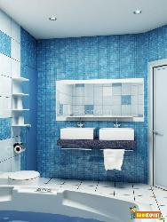 Bath Room with Mosaic Tiles