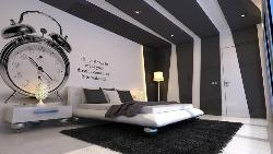 Modern Black & White bedroom, Ceiling and Wall decor