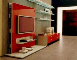 red glossy laminates on tv wall unit with book shelves