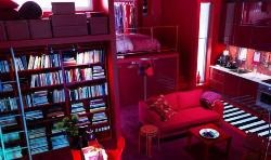 Vibrant Bedroom Design With Red Couches