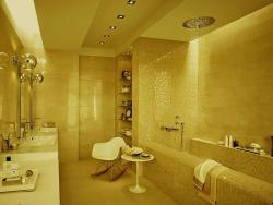 interior of a large bathroom with a Sever star decor