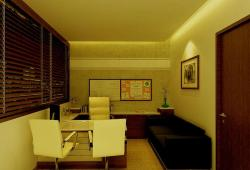 modern office decor with warm yellow lights and light color furniture