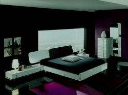 modern bed in black and white theme