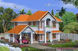 Exterior view of Sloped roof Home