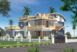 3d design of house exterior with sloped roof