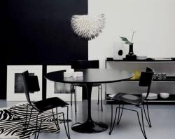 dining furniture in black and white theme