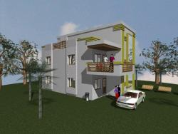 Home elevation design with corner patio