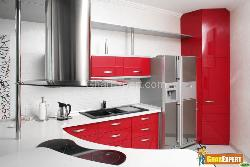 Kitchen with Blend of Red and White