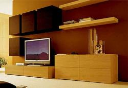 tv unit design with closed boxed design in twin color