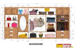 wardrobe Interior for 20 ft space with 5 drawers and  looking mirror