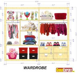 Kids Wardrobe Interior for a 12 feet wide space 12 by 10