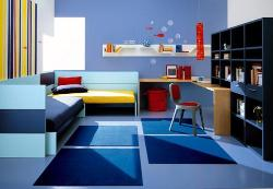 Blue colored kids room furniture make the room complete