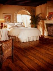 wooden flooring for bedroom with wooden batons on ceiling