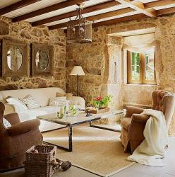 modern drawing room in stone age theme