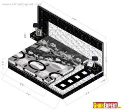 Black and white platfom bed with lighting unit