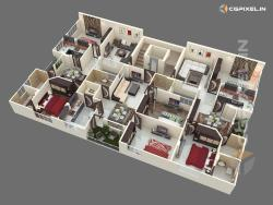 3D VIEW KOTA FLOOR PLANNING