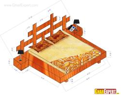 Modern headboard design with dimensions for a double bed