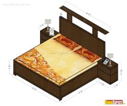 Dimensions for a Wooden double bed with two side tables