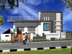 Residence view done in 3DMax Single storey elevation concept