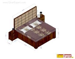 Upholstered bed with straight back