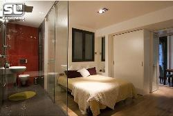 Bed and Bath design with glass Partition