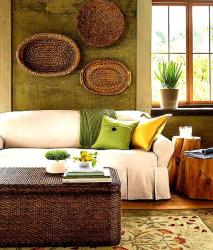 Wall decor idea with earthen look for living room