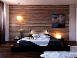 platform bed  and back wall wooden texture