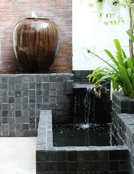 Nice outdoor tiles with a fountain