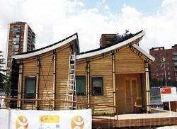 Sloped roof house exterior under construction