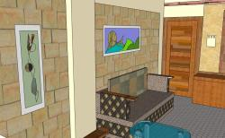 Compact living room 3 D design with brick wall cladding