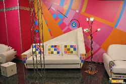Modern Sofa with Colorful Wall Design