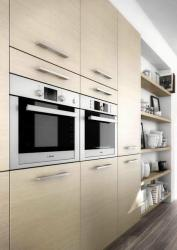 Modern stylish kitchen with microwave wall unit gray full size cabinets