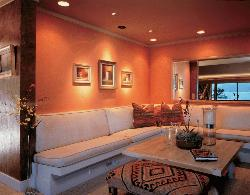 Drawing Room Design Orange Theme And Wooden Ceiling