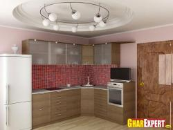 L shaped open kitchen with under counter storage cabinets and overhead storage cabinets